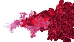 Os efeitos do volume dissolvem a tinta vermelha na água ou em emanações maciças no ar Vfx para compositing com máscara alfa Use-o ilustração stock