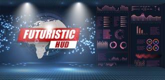 Os elementos abstratos ajustados de HUD para UI UX projetam Estatística e dados, informação infographic ilustração stock