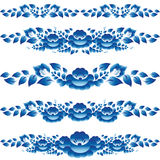 Os elementos azuis do design floral e a decoração da página para embelezar-lo descascam Foto de Stock Royalty Free