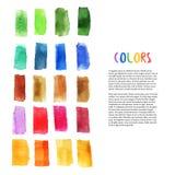 Os elementos coloridos do projeto da aquarela com escova afagam elementos Arte da paleta Decoração do estúdio da arte Vetor Foto de Stock