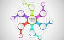 os elementos 3d do infographics para seu negócio projetam-se Papel vazio, círculos tridimensionais no metaball do estilo Uma corr ilustração stock