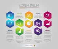 Os elementos da estrutura de favo de mel de Infographic com ícones ajustaram-se no fundo cinzento Molde moderno do negócio do grá Foto de Stock Royalty Free