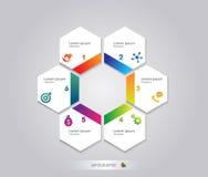Os elementos da estrutura de favo de mel de Infographic com ícones ajustaram-se no fundo cinzento Molde moderno do negócio do grá Fotografia de Stock Royalty Free