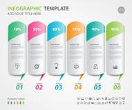 Os elementos de Infographics diagram com 6 etapas, opções, ilustração do vetor, ícone do cilindro 3d, apresentação ilustração stock
