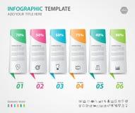 Os elementos de Infographics diagram com 6 etapas, opções, ilustração do vetor, 3d ícone retangular, apresentação ilustração stock