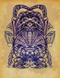 Os elementos desenhados do teste padrão decorativo ilustração stock