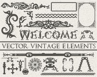 Os elementos detalhados do vintage no estilo gótico no vintage bege textured o fundo Ilustração do vetor Fotos de Stock Royalty Free