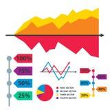 Os elementos do gráfico da carta do diagrama vector o progresso infographic das setas e do círculo do molde dos dados da folha de ilustração do vetor