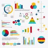 Os elementos do mercado dos dados comerciais pontilham diagramas dos gráfico de setores circulares da barra e GR Fotos de Stock