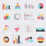Os elementos do mercado dos dados comerciais pontilham diagramas dos gráfico de setores circulares da barra e GR Foto de Stock Royalty Free