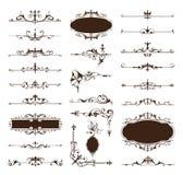 Os elementos do projeto do vintage do vetor limitam cantos dos ornamento dos quadros ilustração royalty free