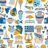 Os elementos do vetor de Grécia antigo no estilo da garatuja viajam, história, música, alimento, vinho Fotos de Stock Royalty Free