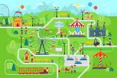 Os elementos infographic do mapa do parque de diversões no vetor liso projetam ilustração do vetor