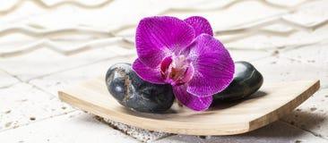 Os elementos puros e do zen para termas centram a decoração Fotos de Stock Royalty Free