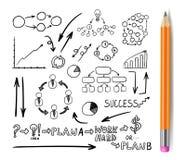 Os elementos tirados negócio com lápis realístico, garatujas do vetor ajustaram-se, desenhos pretos Isoalted ilustração stock