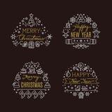 Os emblemas decorativos do vetor do feriado do Natal com xmas festivo do inverno alinham ícones ilustração royalty free