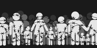 Os emigrantes e os refugiados estão estando atrás de fechado e estão fechando a barreira ilustração stock