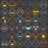 Os emoticons de Emoji ajustaram o vetor da coleção dos sentimentos da expressão da cara ilustração do vetor