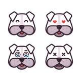 Os emoticons do cão ajustaram expressões diferentes ilustração royalty free