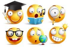 Os emoticons do vetor do estudante da cara do smiley ajustaram-se com expressões faciais ilustração stock
