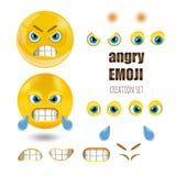 Os emoticons irritados amarelos do smiley ajustaram-se, emoji, ilustração do vetor Foto de Stock