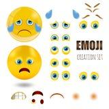 Os emoticons tristes amarelos do smiley ajustaram-se, emoji, ilustração do vetor Foto de Stock Royalty Free