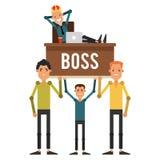 Os empregados estão nas mãos de seu chefe na coroa Homem de negócios Imagem de Stock Royalty Free