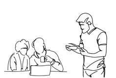 Os empresários da garatuja em homens de negócio da reunião de sessão de reflexão trabalham junto o assento na mesa de escritório  ilustração do vetor