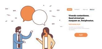 Os empresários dos pares conversam a mulher do homem de uma comunicação da bolha que discute o retrato fêmea masculino do persona ilustração royalty free