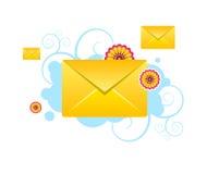 Os envelopes, email, sms vector ícones com testes padrões Fotografia de Stock