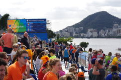 OS:er som Rio2016 ror konkurrenser Royaltyfria Foton