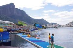 OS:er som Rio2016 ror konkurrenser Arkivbild