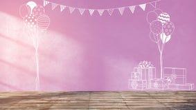 Os esboços na parede cor-de-rosa para crianças party ou festa do bebê Fotografia de Stock