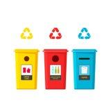 Os escaninhos de reciclagem vector a ilustração isolada no fundo branco Fotografia de Stock Royalty Free