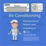 Os especialistas lisos de uma imagem do vetor trabalham com equipamento A instalação ou reparo do condicionador de ar Foto de Stock