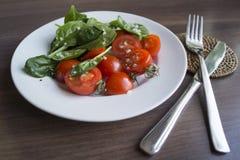 Os espinafres e os tomates imagem de stock