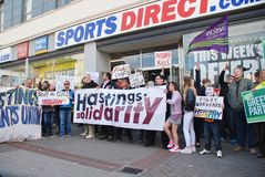 Os esportes dirigem o protesto, Hastings Fotografia de Stock