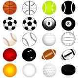 Os esportes do vetor ajustaram-se: Esferas na cor e na silhueta ilustração stock