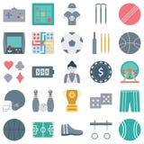 Os esportes e os ícones isolados jogo do vetor consistem a bola, o gamepad, o psp, o tênis e o muito mais, uso especial para proj ilustração stock