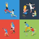 Os esportes jogam o vetor 3d isométrico liso da família do parenting Imagens de Stock Royalty Free