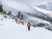 Os esquiadores e os snowboarders que montam em um esqui inclinam-se Imagem de Stock