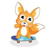 Os esquilos dos desenhos animados estão jogando o skate ilustração stock