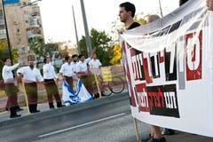 Os estabelecimentos israelitas protestam e protesto contrário imagens de stock royalty free