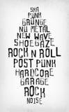 Os estilos da música rock etiquetam a nuvem, selos da tipografia do oldschool do grunge Fotografia de Stock