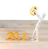 Os estoques do ano novo feliz 2016 estão movendo-se do número cinco para o número Foto de Stock Royalty Free