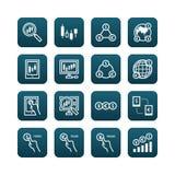 Os estrangeiros vector os ícones lisos ajustados da troca em linha da finança do negócio Imagens de Stock