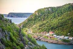 Os estreitos que conduzem para mover no ` s de St John, Terra Nova, Canadá Imagem de Stock