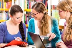 Os estudantes na biblioteca são um grupo de aprendizagem imagens de stock