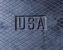Os EUA assinam, logotipo gravados no metal, aço Logotipo metálico Fotos de Stock