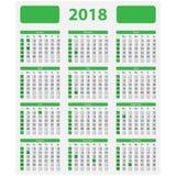 Os EUA calendar 2018 - feriados oficiais Fotografia de Stock Royalty Free